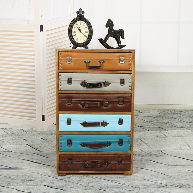 European and American style retro rustic wood cabinet drawer storage cabinets lockers do the old classical multi-bucket suitcase
