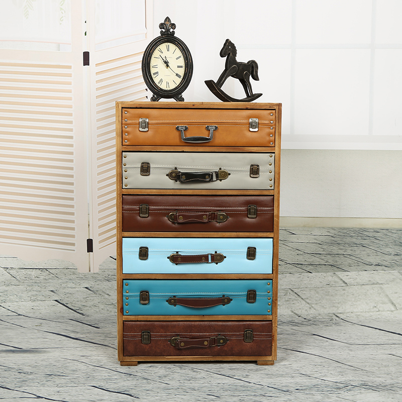 European and American style retro rustic wood cabinet drawer storage cabinets lockers do the old classical multi bucket suitcase