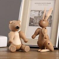 Скандинавский дизайн, кукла с животными, современный кролик из дерева, медведь, миниатюрный домашний декор, статуэтки, настольные украшения