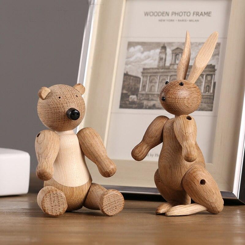 Nordic дизайн животных кукла Современные деревянные кролика и медведя миниатюрный Домашний Декор фигурки стол украшение стола рождественски