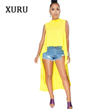 купить XURU White Yellow Black Dress For Women Sleeveless Front Rear Asymmetrical Casual Loose Dresses Plus Size Solid Dress S-XXXL по цене 777.87 рублей