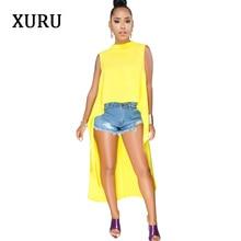 XURU White Yellow Black Dress For Women Sleeveless Front Rear Asymmetrical Casual Loose Dresses Plus Size Solid S-XXXL