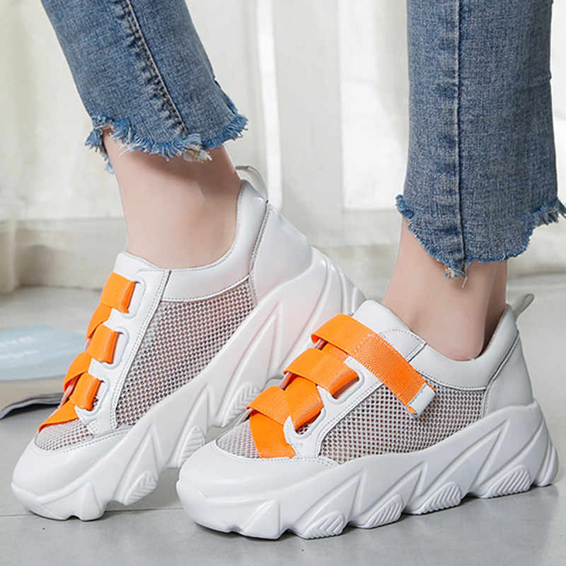 Platform Shoes Woman Mesh Hollow PU Leather Summer Spring Multicolor Lace-up Ladies Shoes Shallow Mouth Chunky Sneakers ks9908w