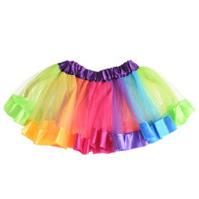 2016 Summer Baby Girl Skirt Children Kids Rainbow Tutu Skirts Girls Party Wedding Dancewear Costume Pettiskirt Princess