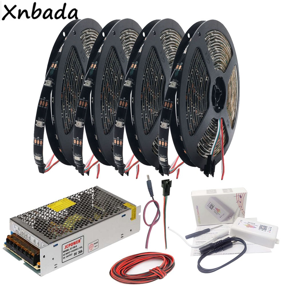 WS2812B WS2812 RGB Led Strip Light SP107E Bluetooth Music RGB Led Controller DC5V Led Transformer 5M 10M 15M 20M Kit