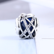 2017 Christmas 100% 925 Sterling Silver Blue Galaxy Charm Fit Original Pandora Charms Bead Bracelet for Jewelry Making