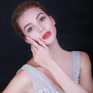Image 5 - UMCHO anillos de plata de ley 925 auténtica de Nano Esmeralda rusa para mujer, anillo Vintage de piedra natal de mayo para mujer, joyería de marca fina