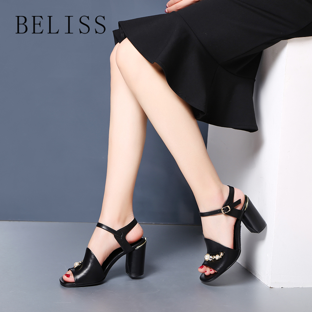 BELISS women sandals leather genuine fashion sandals women high heels comfortable ankle wrap summer shoes ladies open toe S1