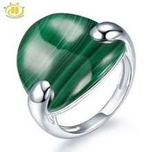Hutang Stone Jewelry 100 Natural Green Malachite Solid 925 Sterling Silver Ring Fine Fashion Jewelry One