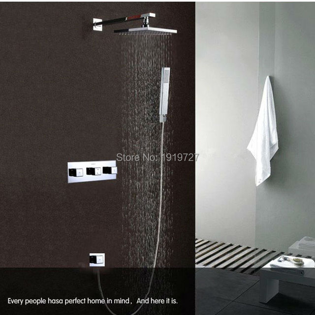 10 Inch Rainfall Shower Head And Waterfall 2 Water Functions Work  Wall Mounted Bath Shower Faucet Set