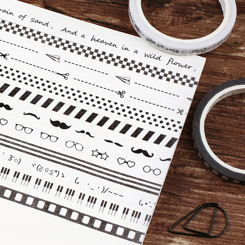 1X 1.5cm*7m Black and white Decorative adhesive tapes Paper washi tape scrapbooking Office School Supplies Promotional gifts 2pcs 50mm x 3m super strong double sided foam wide tape adhesive convenient school office tapes stationery supplies