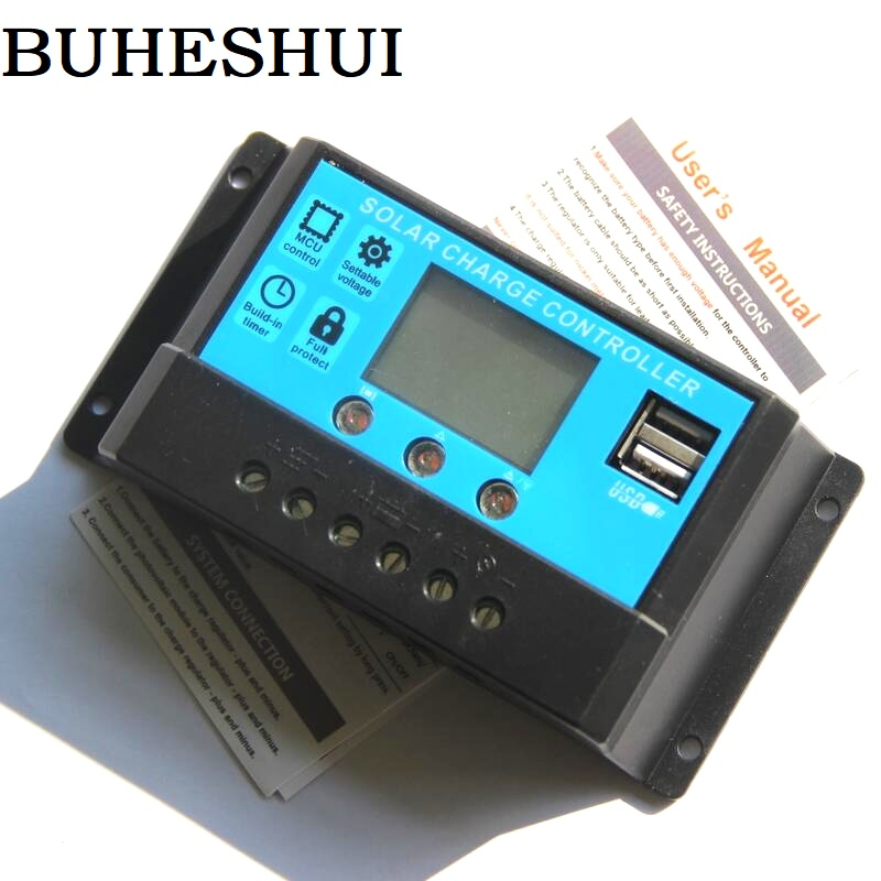 BUHESHUI Solar Panel Regulator Automatic Charger Controller New Design Intelligent Home Auto 20A 12V-24V LCD Display USB