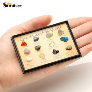 Sunligoo набор из натуральных камней 15 различных 0,25 дюйма коллекция для путешествий в пластиковой витриной pedras naturais e minerai