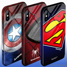 Tempered glass phone case for iPhone X XS Max XR 6 7 8 Plus Colored edge Marvel Angry Embossed Captain America Iron Man Heroes
