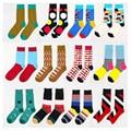 2016 New Fashion Leisure Mens Socks Cotton Colorful Striped Jacquard Art Socks Hit Color Dot Long Happy Socks Free Shipping