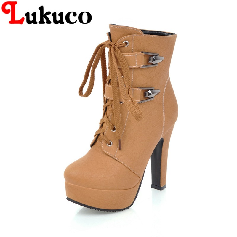 2018 hot sale big size 39 40 41 42 43 44 45 46 47 48 49 Lukuco women boots lace-up design high heels lady shoes free shipping