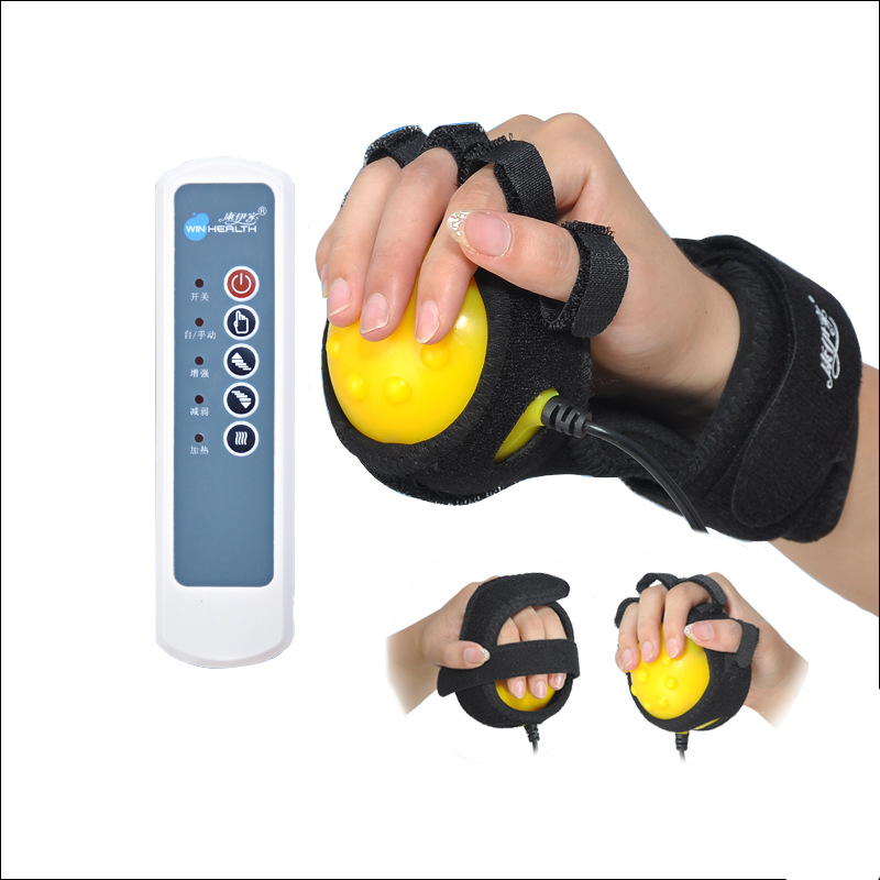 3 Modes Hot Compress Hand Vibrating Massage Ball Hands Inability Disease Fix Tape Heating Massager finger training device spiky massage ball fitness balls sense to strengthen mini peanut massage ball soft for back foot hand training ball blue red