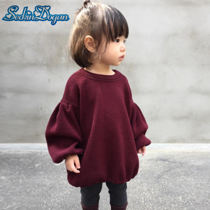 SeckinDogan Baby Girl Tops Cotton Puff Sleeve Baby Girl Clothes Loose-Fitting Kids T-shirt Solid Colour Spring Autumn Girl Tee drop shoulder lantern sleeve solid tee