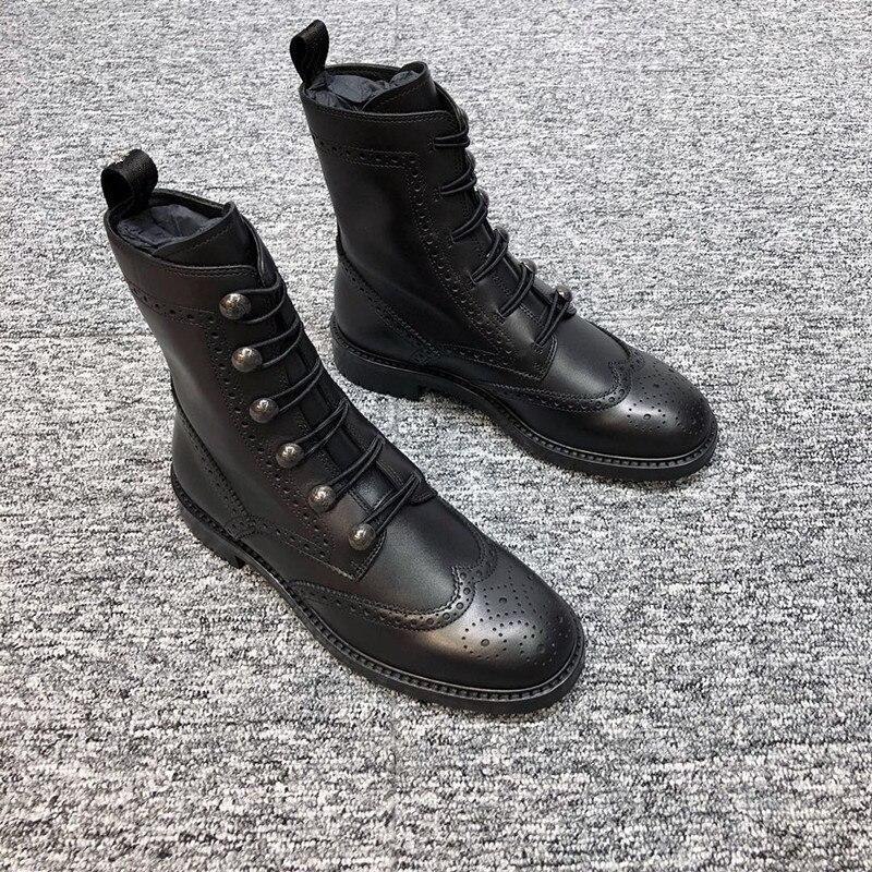 Dames Talons Moto Martin Bottes Femme Mujer Inside Leather Inside Carrés fur En Chaussures Cuir Noir 2019 Femmes Hiver Nouveau Botas Bottines shrtQdC