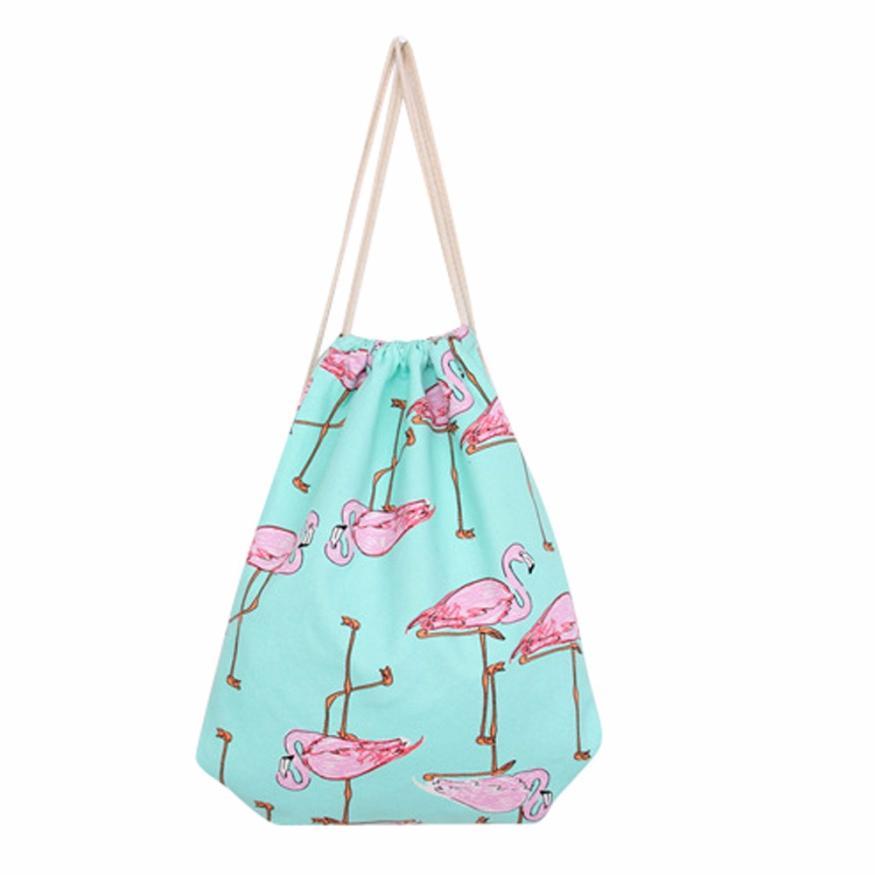 Flamingos Drawstring Beam Port Backpack Shopping Bag Travel Bag Cotton Canvas Backpacks White Wholesale #Y
