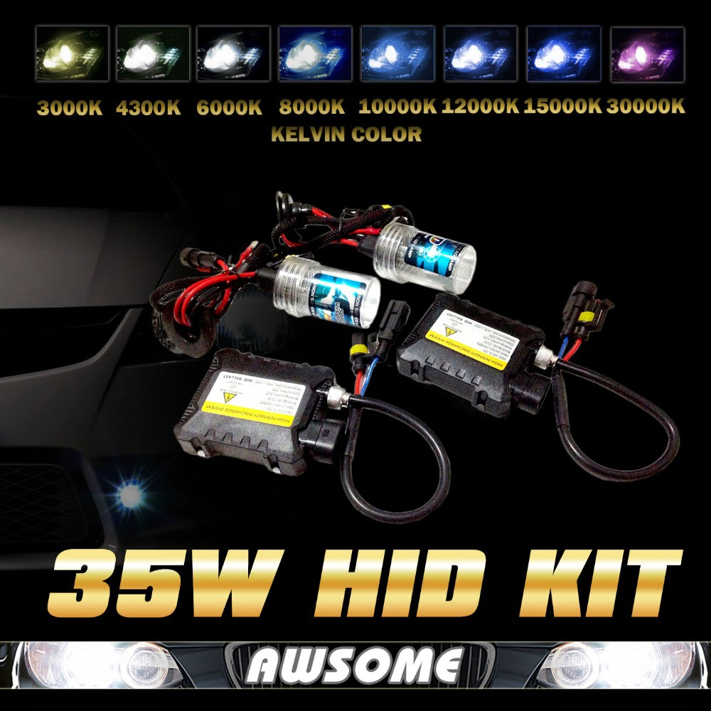 ФОТО AC 12V HID Kit 35W HID Slim Ballast H4-3 H13-3 9004-3 9007-3 3000K-30000K HID BI XENON Replacement Bulb All Colors With Relay