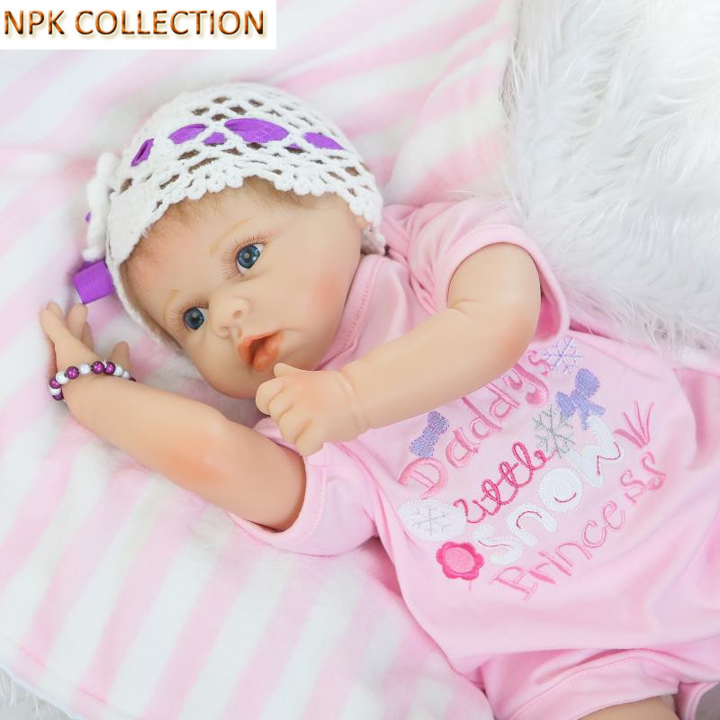 NPK COLLECTION 50CM Silicone Reborn Dolls Baby Born Bonecas Plaything Toys for Girls,20 Inch Fake Baby Doll Silicone Baby Alive npk collection handmade bjd doll 18 inch girl doll include clothes shoes plastic baby princess doll plaything toy for children
