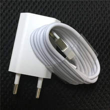Original Travel USB Wall Charger for iPhone XS Max XR 7 Plus X 8 SE 5 5s 6 6s iPad EU Plug + 8 pin Data Sync USB Cable Wire(China)