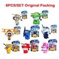 8 Unids/set Alas Súper Mini Avión Jet ABS Transformación Robot juguetes Figuras de Acción Super Ala Animación Niños Embroma el Regalo