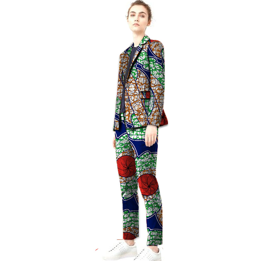 Elegant African print women blazers with trousers fashion suit pant+blazer sets dashiki fashion suit customized africa clothing le suit women s water lilies woven pant suit with scarf