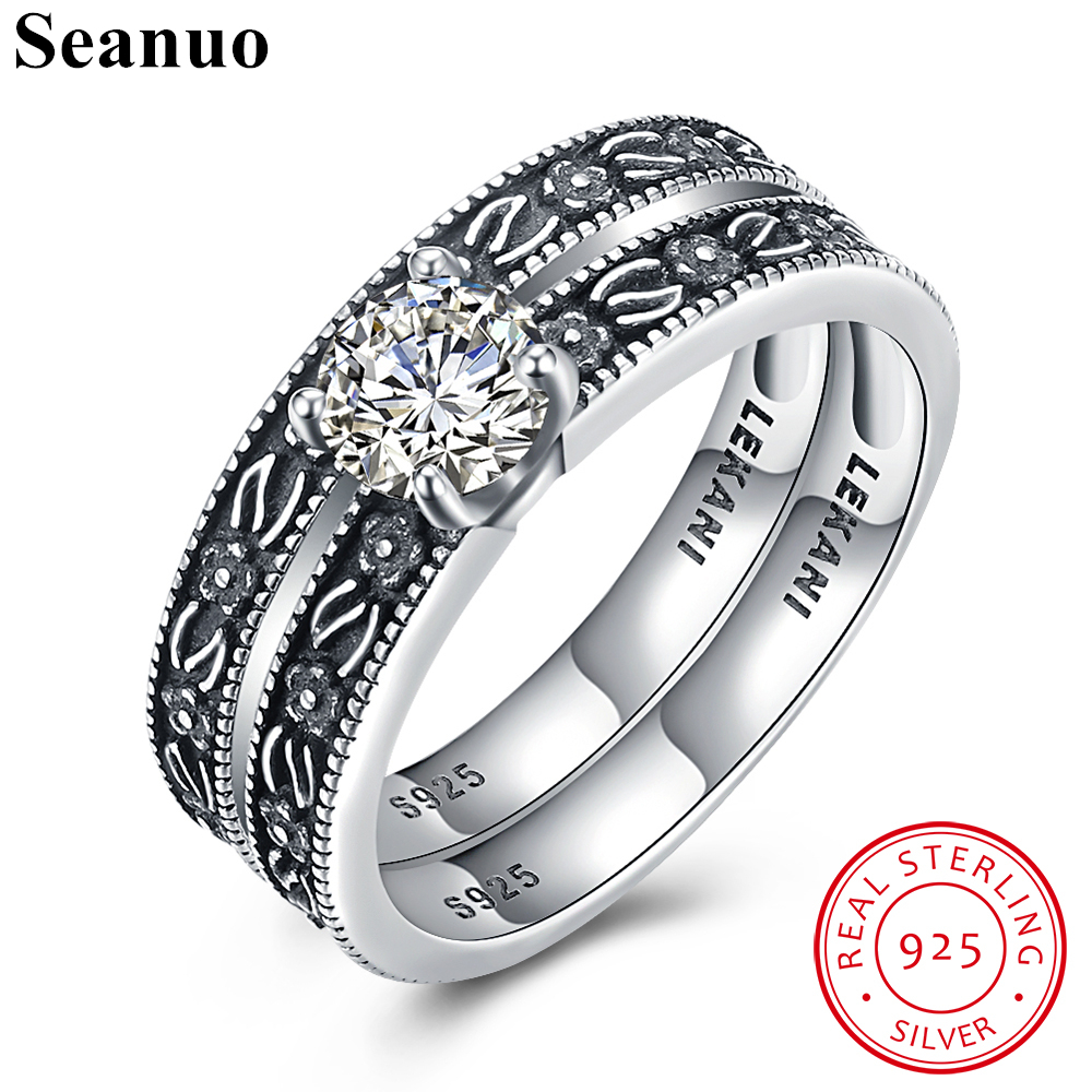 Seanuo 2 Ring Set India Style 100 Sterling Silver Cz Ring For Men