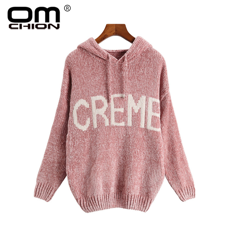 OMCHION Pull Femme Hooded Chenille Women Sweaters And Pullovers 2018 Winter Casual Loose Letter Sweaters Knit Jumper LMM219
