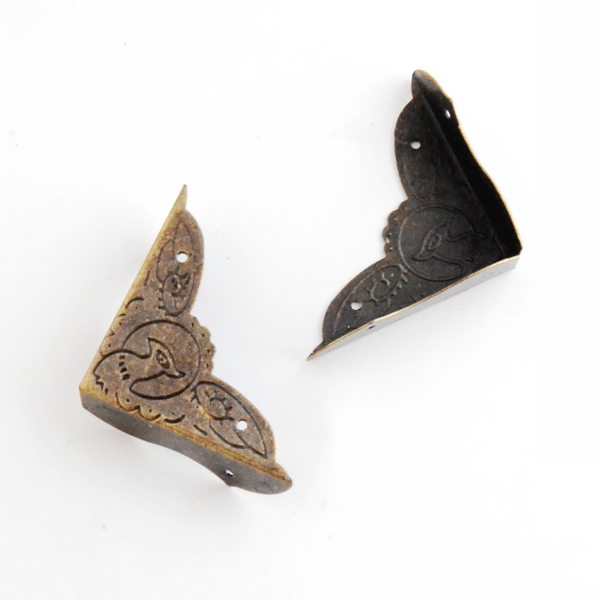Free Shipping 8Pcs Antique Bronze Jewelry Gift Box Wood Case Decorative Feet Leg Corner Protector 39x54mm F0984
