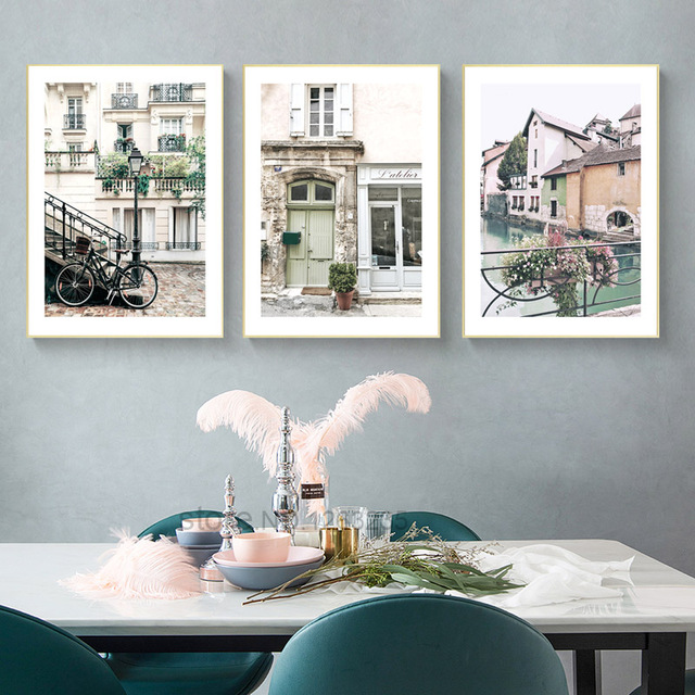 Town Scenery Nordic Poster River Wall Art Canvas Painting Villa Wall Pictures Cuadros Decoracion British Architecture Unframed