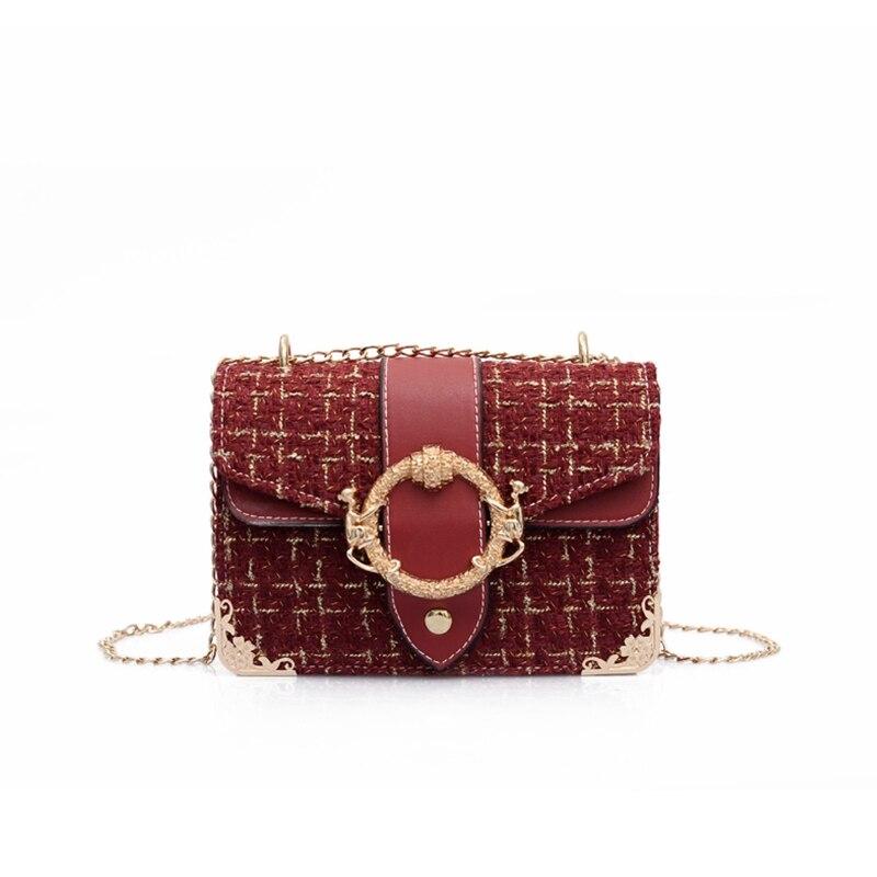 bb37463b08 Autumn Winter Fashion Women Woolen Cloth Lock Small Shoulder Messenger Bags  Chic Chain Crossbody Flap Bags