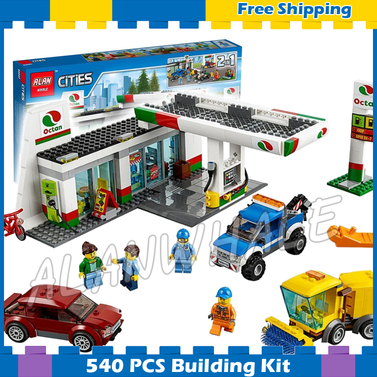 540pcs New City Service Gas Station Cars Garage 02047 Model Building Blocks Assemble Gifts Sets Bricks Compatible With Lego