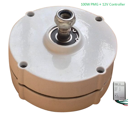 Low torque AC 12 V 100 W Permanent Magnet Alternator with controller