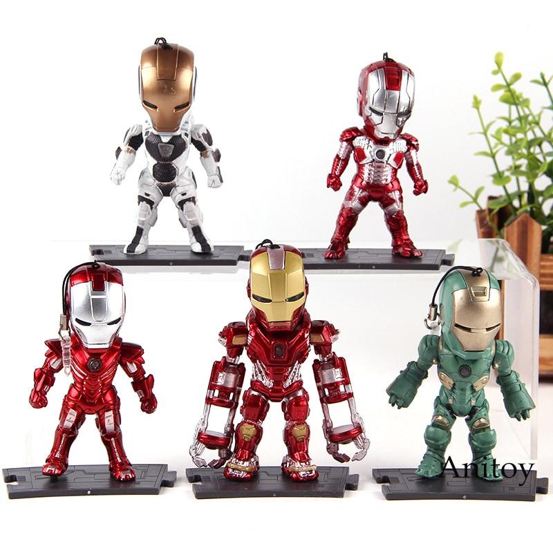 Marvel Toys Iron Man Light & Action Function Mark 5 29 33 35 39 PVC Action Figures Pendant Collection Model Toys 5pcs/set