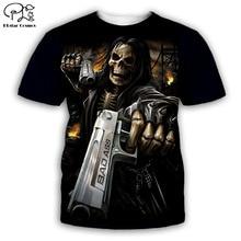PLstar Cosmos black t shirts summer shorts sleeve mens/womens t-shirt hip hop top tees boy skull 3D printed