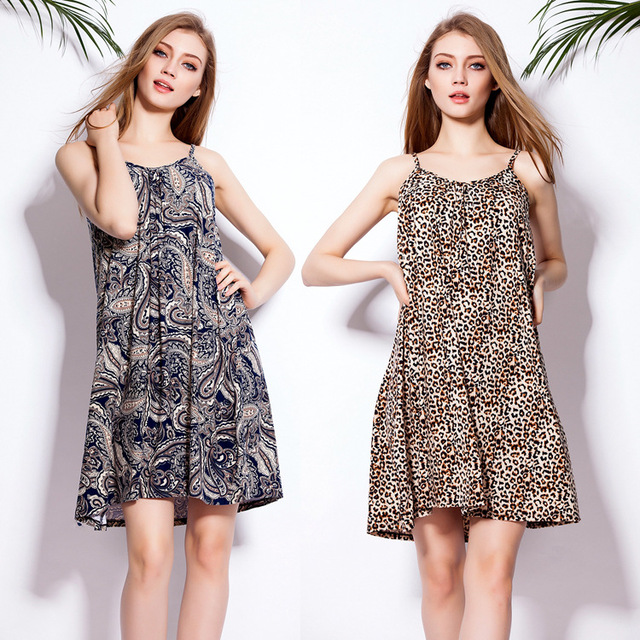 2015 EBAY Best Selling Loose Pattern Leopard Dress Women A-Line Sleeveless  Spaghetti Strap Casual Girls Summer Dress Free Size 49d21c1dc635