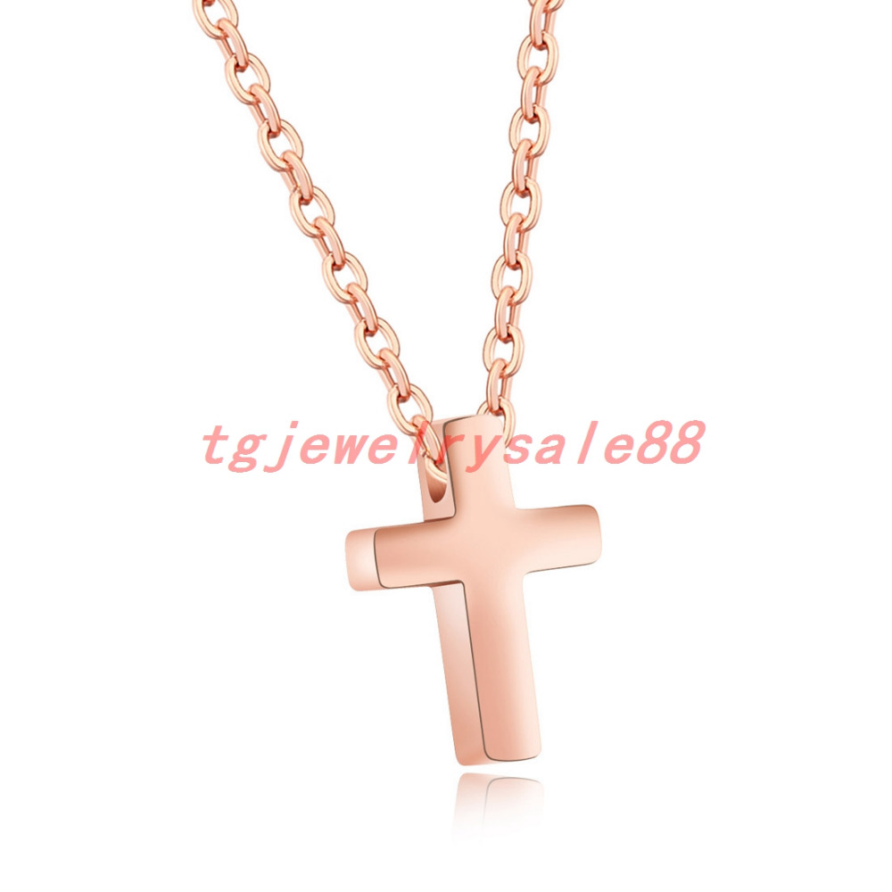 Small cute silver rose gold black cross pendant stainless steel small cute silver rose gold black cross pendant stainless steel simple plain cross necklace charm mens womens best xmas jewelry in chain necklaces from aloadofball Images