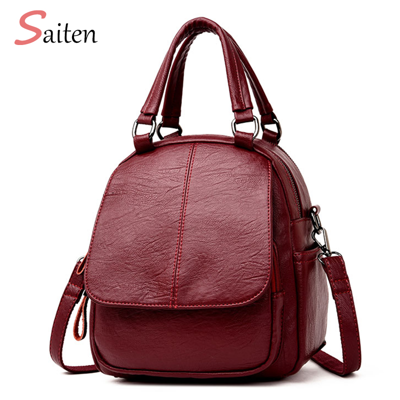 Saiten Women Backpack Female High Quality School Bags Backpacks for Teenage Girls Shoulder Bag Fashion PU Leather Backpack mara s dream 2018 backpack simple style women pu leather backpacks for teenage girls school bags vintage solid shoulder bag