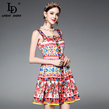 High Quality Runway Designer Summer Dress Women's elegant Spaghetti Strap Colorful Button Red Rose Flower Floral Print Dress