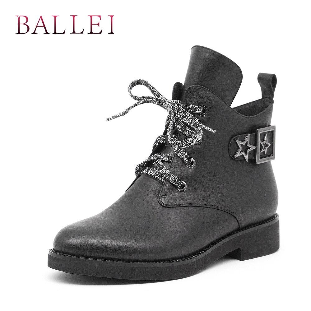 Rond Lacets Faible Femme Haute Classique Bottes À Balle Bout Bottine Véritable Talon En D'hiver B41 Cuir Rétro Chaussures Qualité Doux Black 3RL54jAq
