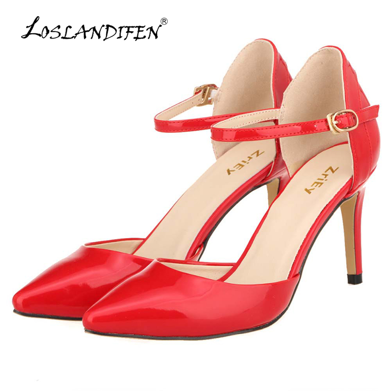 LOSLANDIFEN Womens Pointed Toe Patent Leather High Heels Sexy Ankle Strap Sandals Pumps Ladies Party Shoes Femininos 952-7PA women flat sandals fashion ladies pointed toe flats shoes womens high quality ankle strap shoes leisure shoes size 34 43 pa00290