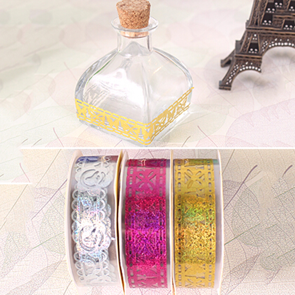 Office Adhesive Tape Peerless 1 Piece 1.7 M 7 Colors Hollow Out Transparent Lace Tape Decoration Roll Self Adhesive Tape Scrapbook Washi Tape Office & School Supplies