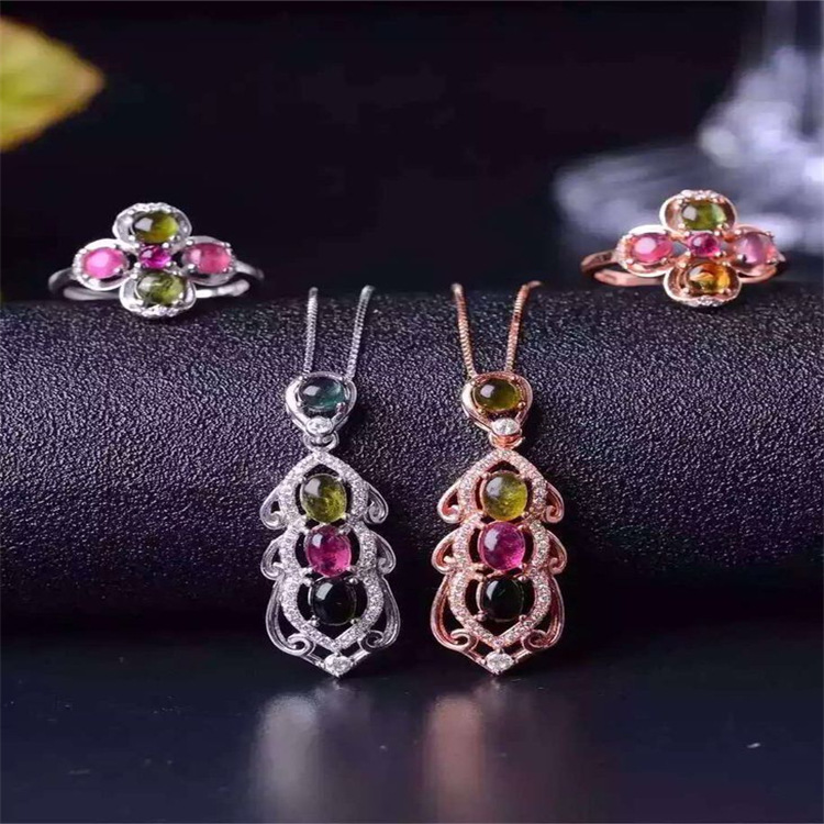 Colorful jewelry natural tourmaline jewelry set 925 Silver Ring + Pendant + bracelet set of natural gemstones blue gemstones decor four pieces jewelry set page 6