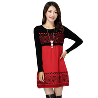 Autumn Winter Warm Sweater Dress Women O Neck Sexy Knitted Dresses Long Sleeve Patchwork Mini Pullovers
