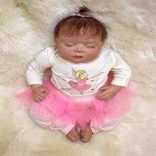 20 inch 50 cm Silicone baby reborn dolls, lifelike doll reborn Beautiful pink princess dress sleeping doll holiday gift