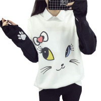 Lovely Cats Cartoon Hoodies Female Kawaii Sleeved Women S Sweatshirts Leisure Sudaderas Mujer 2016 Autumn Winter