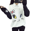 Lovely Cats Cartoon Hoodies Female Kawaii Sleeved Women's Sweatshirts Leisure Sudaderas Mujer 2017 Autumn Winter Wild Tracksuits